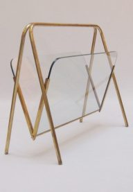Brass and glass magazine rack 3