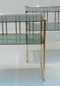 Brass and smoked glass side tables