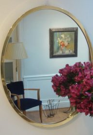 Oval brass mirror