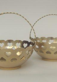 Pair of brass baskets
