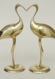 Pair of brass storks